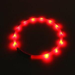 2-TECH LED Visio Collier lumineux Deluxe pour chiens et chats LED rouges Taille universelle tour de cou 55cm