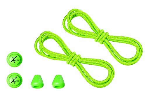 Xunits Schnürsenkel/Schuhbänder für Ihre Schuhe Schnellschnürsystem - elastisch, praktisch, schleifenlos und rund erhältlich: neon grün/reflektierend