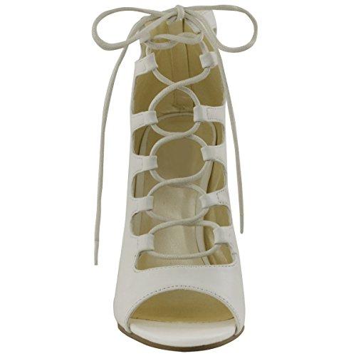 Scarpe col tacco alto tacchi a spillo donnan in Gladiator Suffragette la circonferenza senza dita Bianco Similpelle