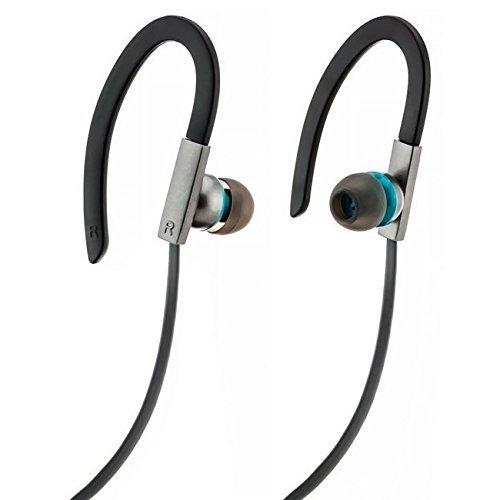 Saxonia In-Ear Kopfhörer Stereo Headset Sport Ohrhörer mit Mikrofon für Android, iOs (Kompatibel mit Samsung Galaxy, Apple iPhone, Sony Xperia, HTC und mehr) Sportkopfhörer - Grau/Türkis