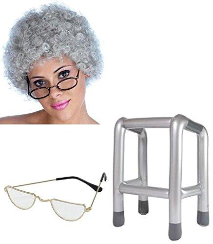 Alte Frau Granny grau gelockt Perücke, Zimmer Rahmen und Half Moon Gläser Fancy Kleid Kit (Blue Moon Glas)