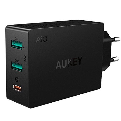AUKEY USB C Caricabatteria per Muro 3 Porte 42W