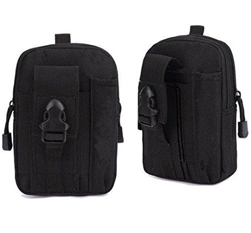 Taktische Hüfttaschen Molle Tasche Klein Gürteltasche für Outdoorsport Camping Wandern Pusheng Schwarz