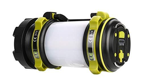 LE LED Handscheinwerfer, wiederaufladbare Superhell 500lm CREE LED Handlampe mit 2600mah Powerbank, dimmbare Taschenlampe mit Warnlicht, geeignet für Camping, Angeln, Abenteuer, Wandern, Notfall usw.