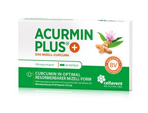 Kurkuma Kapseln hochdosiert von Acurmin PLUS: Das Mizell-Curcuma (Curcumin) mit Vitamin D3, OHNE Piperin/Bioperin/Pfeffer von Cellavent Healthcare - 60 Kapseln natürliches Kurkuma