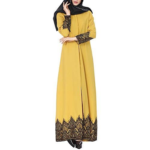 URIBAKY Damen Elegant Muslim Maxi-Kleid-Robe Vintage Muslimisches Kleid der Hülsen-Partei-Lange moslemischen Art Ethnische Art-Druck-Lange Casual
