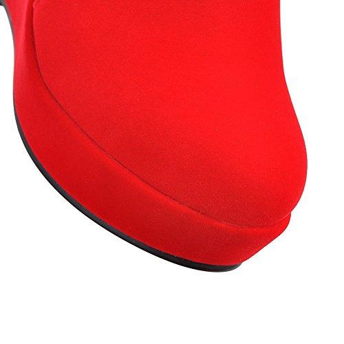 AllhqFashion Damen Reißverschluss Hoher Absatz Niedrig-Spitze Stiefel mit Beschlagene Strass Rot
