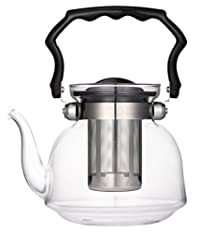 Uniware Pyrex glass Teapot with Filter, 2200ml, Clear