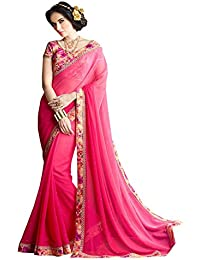 I-Brand Pink Color Georgette & Print Bhagalpuri Fabric Border Work Saree ( New Arrival Latest Best Choice And...