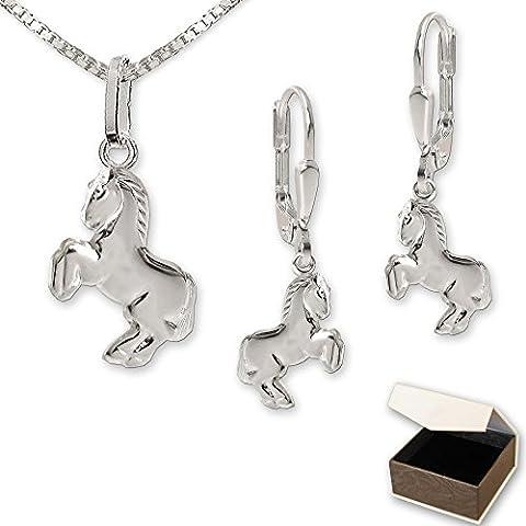 CleverSchmuck Parure de bijoux en argent 925 véritable avec boucles d'oreilles pendantes en forme de petit cheval, pendentif assorti et chaîne Venezia de 40 cm