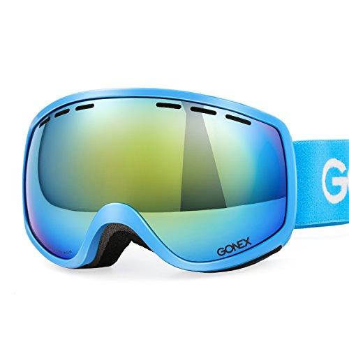 Gonex bambini occhiali da sci a doppia lente sferica di protezione uv400 maschere goggle visione chiara anti-nebbia anati-vento con goggle case (blu)