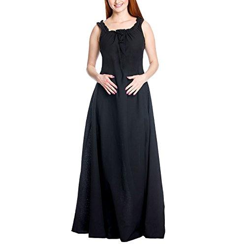 Mittelalter Damen Überkleid Ella schwarz Baumwolle - ()