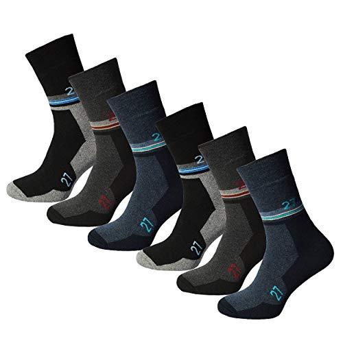 6 Paar Herren Thermosocken Diabetiker geeignet Vollfrottee ohne Gummi mit Innenfrotteè, Wintersocken Thermo Socken Thermostrümpfe 43-46