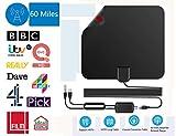 Antena de TV, [Versión Mejorada] Antena TV Interior de Rango Amplificado de 60+ Millas / 95 KM con Amplificador de Señal y Amplificador Avanzado y Cable Coaxial DE 16,5 Pies, Compatible con VHF/UHF/FM