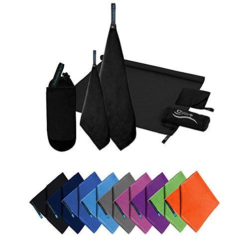 Microfaser Handtücher | 70x140cm + 30x50cm Mikrofaser Handtuch schnelltrocknend Badehandtuch Reisehandtuch für Camping & Outdoor | Badetuch | Sporthandtuch 2er Set Schwarz