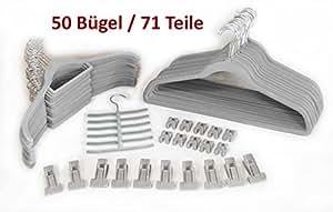 Smart-Hangers --Set 50 Bügel, 71 Teile-- Grau / platzspar- magic antirutsch Kleiderbügel