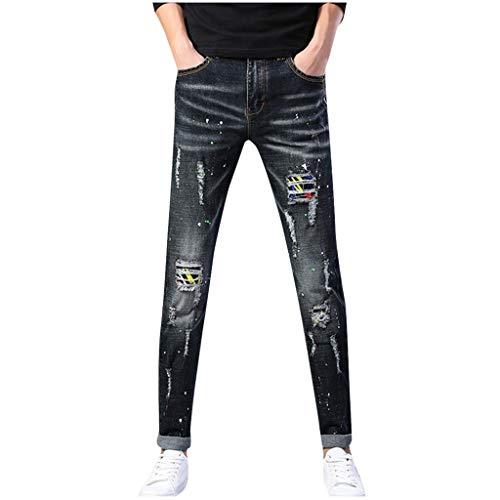 Dwevkeful Destroyed Jeans Herren GrößE Retro Trousers Stretch Pants Denim Hosen Freizeithose Trainingshose Trekkinghose Jogginghose Casual - Braun Nadelstreifen-herren-anzug