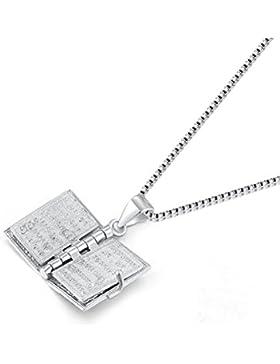 Mini Buch-Anhänger zum Öffnen, Bibel, Sterling-Silber 925, mit Halskette 41 cm