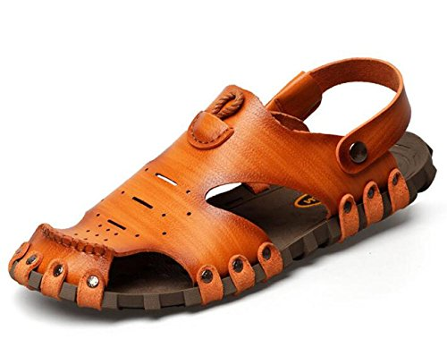Beauqueen Strand Hausschuhe Dual-Use Man's Sommer Soft Outsoles Outdoor Pantoffeln Sandalen Cloesd-Toe Casual Anti-Rutsch-Sport Casual Schuhe EU Größe 38-44 , yellow brown , 38 (Nike Light Up Schuhe)