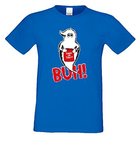 Extrem stylisches gruseliges Halloween-Herren-Fun-T-Shirt als Geschenke-Idee Motiv: Geist Buh! Farbe: royal-blau Royal-Blau