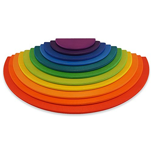 Montessori Waldorf School - 11 Piece Rainbow Wooden Semicircles - For Use with 12PC Stacking Rainbow (35cm)