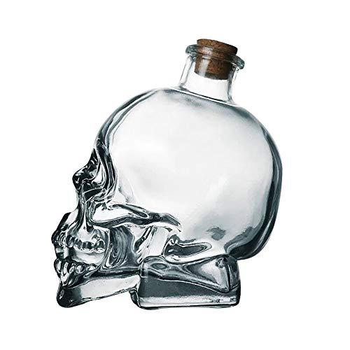 e Große Glas Schädel Große Apotheker Glas Flasche Dekanter Skeleton Cup (B, 400ML) ()