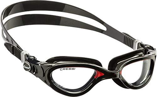Cressi Flash - Premium Erwachsene Schwimmbrille Antibeschlag und 100{f0b61878abaf107f7711d05b6884dcb99f6923f2ad8ec157819deb7de0163039} UV Schutz, Schwarz/Rot - Transparent Linsen, One Size