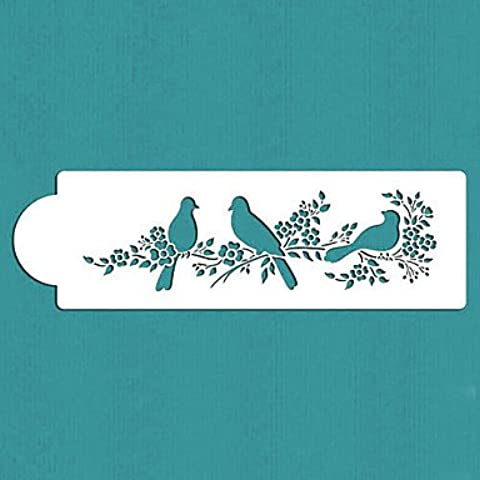 FPP regalo uccelli di amore torta stencil lato di San Valentino, st-295