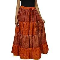 Womens Flare Skirt Silk Sari Orange Long Belly Dance Tiered Flirty Skirts L