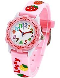Eleoption étanche 3d mignon Dessin animé Digital stabilité Time Teacher Cadeau pour petites filles garçons enfants respectueux de l'environnement en silicone montre, papillon (Fraise Rose)