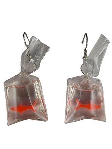 Ausgefallene Ohrringe Hänger Fisch im Beutel Transport Aquarium Aquaristik Goldfisch Schmerle 8314