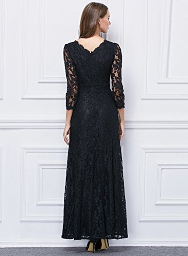 Azbro Women's Floral Lace Paneled 3/4 Sleeve Prom Evening Dress Black