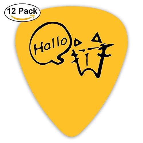 Celluloid Guitar Picks Acoustic Guitar Plectrums,Print Kitty Cat Speech Bubble,12 Pack