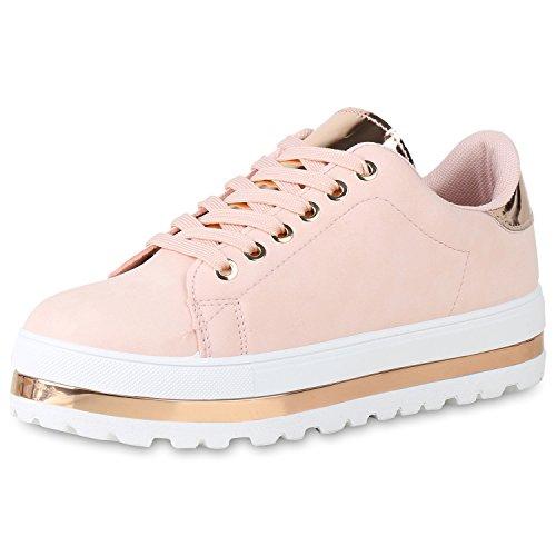 SCARPE VITA Damen Plateau Sneaker Metallic Turnschuhe Freizeit Schuhe Lack 161568 Rosa 40