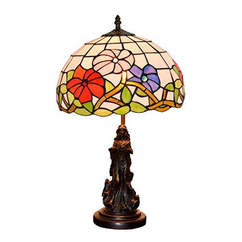 JAY Rote & Rosa breite Tulpe Blumen Tiffany Tisch Lampe-12 Zoll antikes viktorianisches Design Schreibtisch Licht, Handwerk Glasmalerei, Metall Harz Basis -