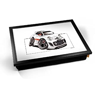 KICO Koolart FIAT Arbath Car Illustration Caricature Cushioned Bean Bag Breakfast Bed Lap Tray Desk - Black Frame