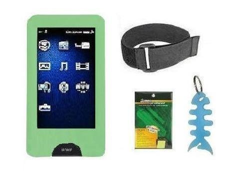 4 in 1 Accessory Combo for Sony Walkman X Series (NWZ-X1050 / NWZ-X1051 / NWZ-X1060 / NWZ-X1061) : Includes Green Silicone Skin Case Cover + Armband + Screen Protector + Light Blue Fishbone Style Keychain  available at amazon for Rs.1897