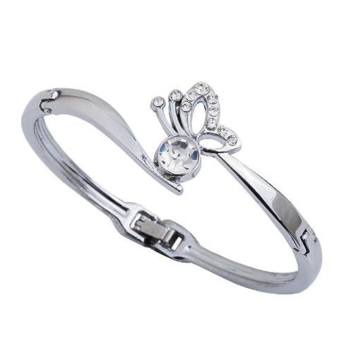 Yazilind Armreif Bangle ¨¹berzogene Legierungs-Schmetterlings- Silber mit Kristall-Armband Durchmesser: 2.2in