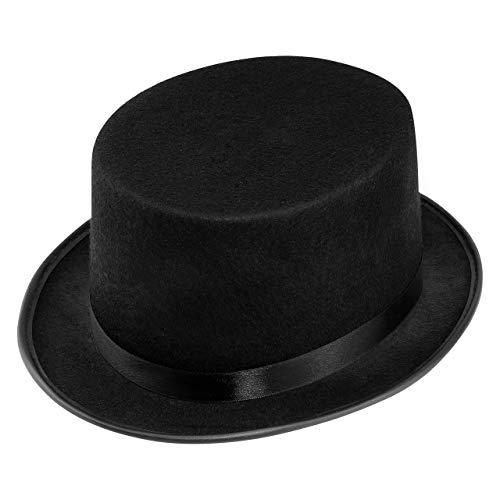 Wellgro® Zylinderhut - schwarz, mit Satinband, für Erwachsene, 31 x 26 x 14 cm (LxBxH)