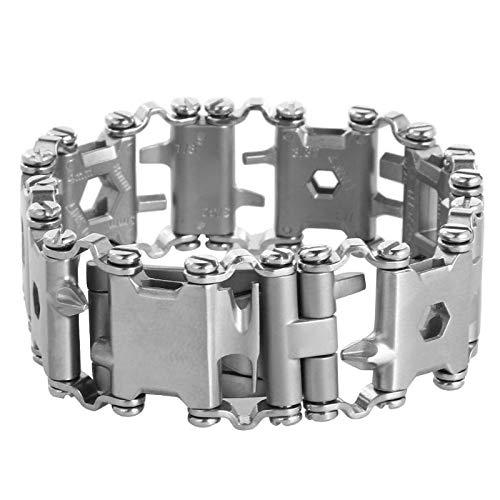 Herrenarmband Multifunktions Unverstellbare Werkzeug Armband Lauffläche Armband Edelstahl Outdoor Bolt Treiber Werkzeuge Kit Travel Friendly Tragbare Multitool Werkzeug -