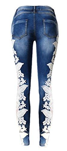 Brinny Damen Hose Jeggings Röhrenhose in Spitze mit Ziernähten am Oberschenkel Denim Jeanshose Skinny Dunkelblau