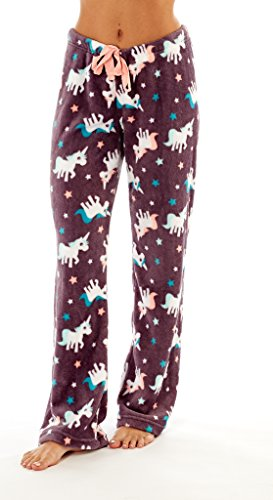 i-Smalls Frauen Snuggly Warm Fleece Pyjama Hose (40-42) Einhorn Design - Spaß Flanell-pyjama