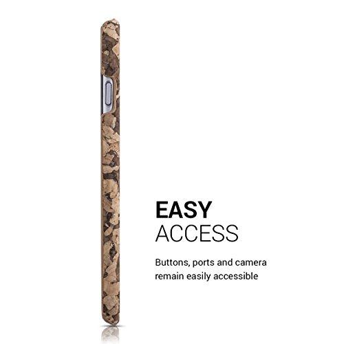 kwmobile Housse en liège pour Apple iPhone 6 / 6S - Case housse de protection avec design Design moitié de fleur .marron brun foncé