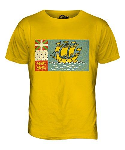 CandyMix Saint-Pierre Und Miquelon Kritzelte Flagge Herren T Shirt Dunkelgelb