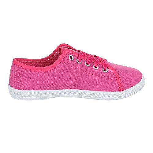 Ital-Design Damen Schuhe, C-34, Freizeitschuhe Schnür Halbschuhe Pink