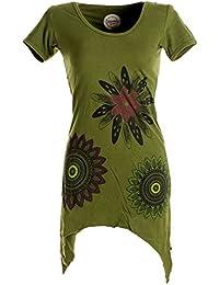 Vishes - Alternative Bekleidung - Asymmetrisch geschnittenes Longshirt, Elfen Tunika mit großen Blumen bedruckt