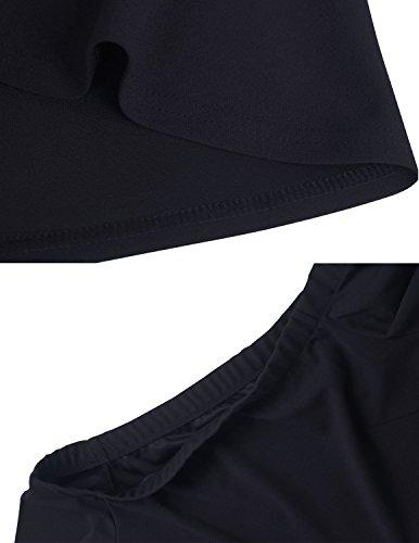 M-Queen Femmes Cocktail Robe Manche Courte Épaule Off Rétro Mode Dress Décontracté Swing Rockabilly Robe Noir