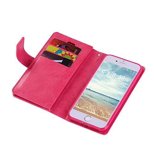 iPhone 6/6S Plus Custodia a portafoglio con 9 porta carte di credito, Moon mood® Libro Cuover Protettiva per Apple iPhone 6/6S Plus 5.5 pollice Leather Wallet Case Shell Cover con Stand Supporto integ Rosa rossa