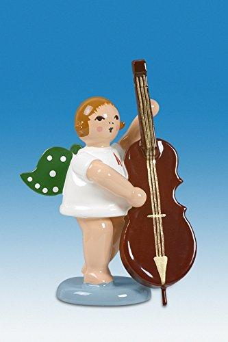 Engelmusikant Engel mit Kontrabass ohne Krone Höhe ca 6 cm NEU Holzengel Weihnachtsengel Erzgebirge Holz