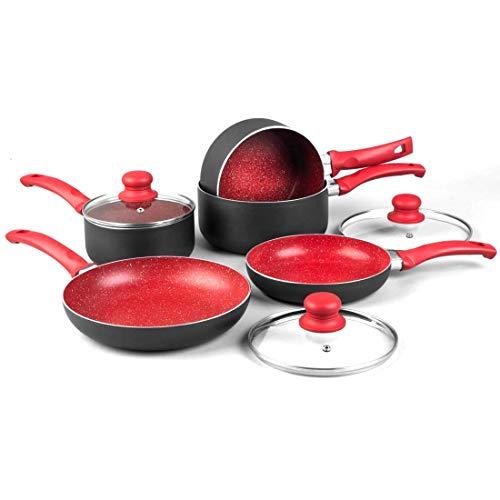 Tooltime UK Ltd Kochgeschirr-Set, Aluminium, Rot marmoriert, 8-teilig